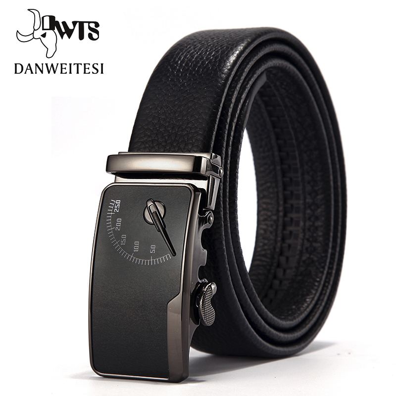 [DWTS] Men's leather belt buckle personality automatic belts leisure fashion pure bovine leather pants waistband ceinture