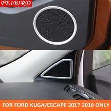 ABS! Pilar A + Protetor de Porta Do Carro Falante de Áudio Kit Tampa de Moldagem Guarnição 8 peça Acessórios Para Ford Kuga/Fuga 2017 2018