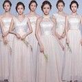 2016 Recién Llegado de Tirantes de Cuello Redondo Una Línea de Encaje Y Gasa Beach Party Largo Elegante Vestido de Las Mujeres Más El Tamaño