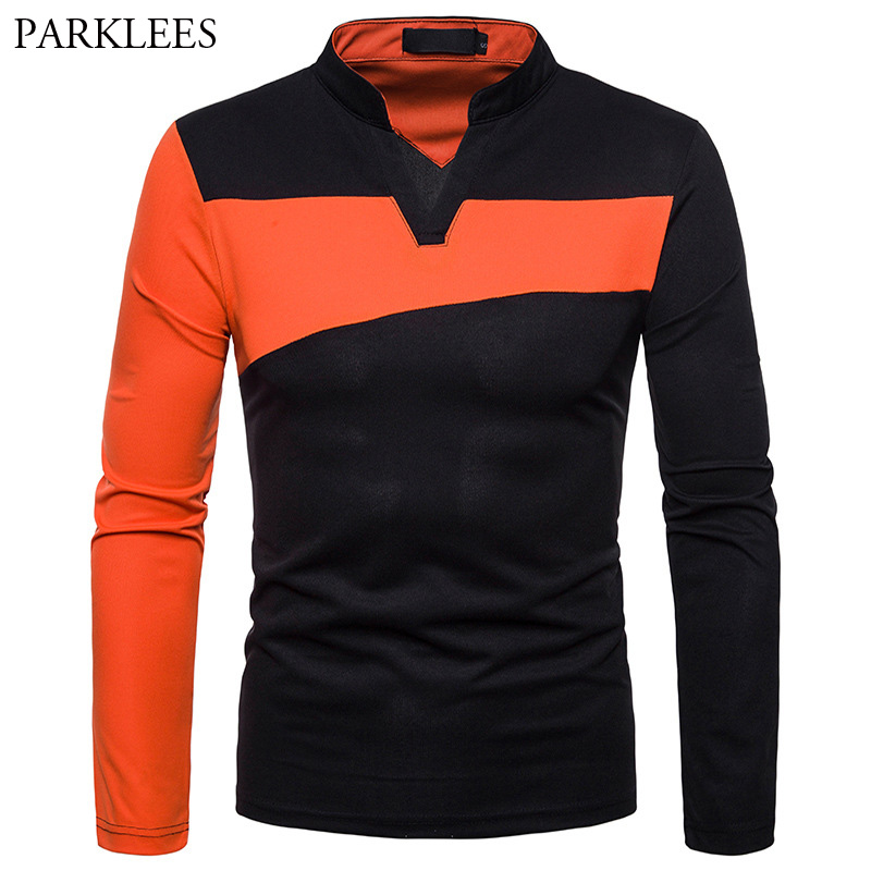 Creative V Neck Polo Shirt Men Contrast Color Stand Collar Polos Homme Casual Slim Fit Long Sleeve Camisa Polo Masculina Tops