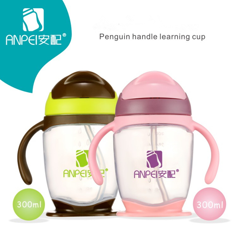 300ML Baby Slippery cover Feeding Bottle with straw Cartoon Lovely Eco-friendly With lid Portable Silica Gel Cup Sports Bottle