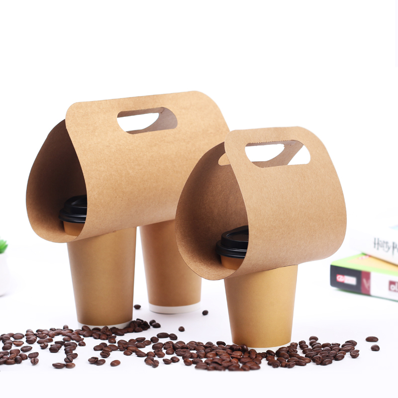 Disposable Kraft Paper Cup Base Handle Holder Eco Friendly Coffee Milk Tea Cup Tray Takeaway Drink