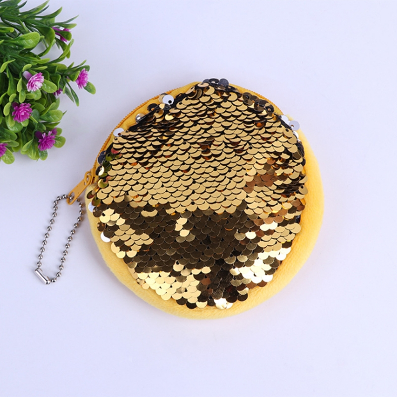 New Girl Kids Mini Sequin Coin Purses and Wallets Small Round Zip Change Card Holder Pouch Storage Bag Solid Fashion THINKTHENDO
