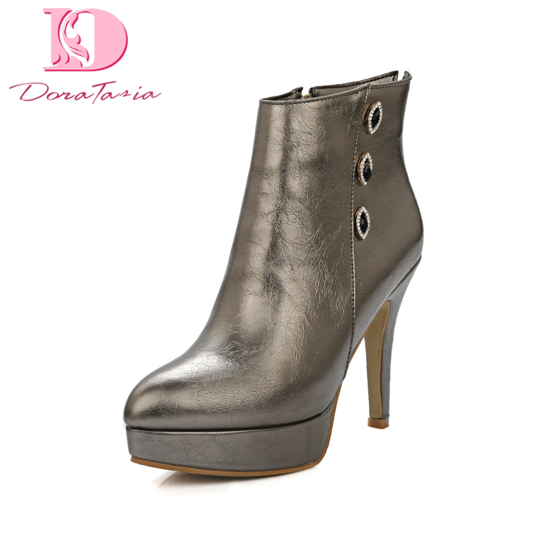 Doratasia 2018 Plus Size 32-46 Wholesale Zip Up party Boots Women Shoes Woman Hot Sale High Heels Ankle Boots Female plus size light up cosplay party skirt
