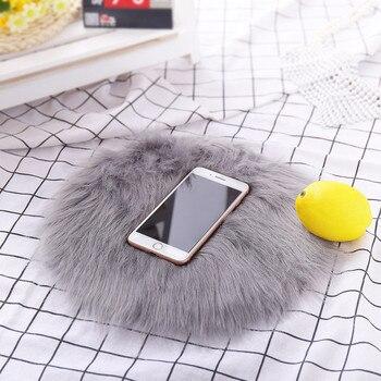 30*30CM miękkie małe sztuczna skóra owcza dywan pokrowiec na krzesło mata do sypialni sztuczna wełna ciepły włochaty dywan siedzenia Textil dywaniki z futra