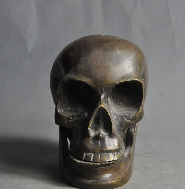 Bi002894 Chinese Folk Bronze Copper Skeleton Devil's Skull Death-head Rohan Head Statue