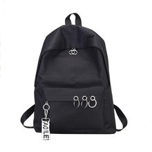 Korean style Backpack women Solid Zipper Ring Decoration Women's Backpack Mochilas Mujer drop ship(China)