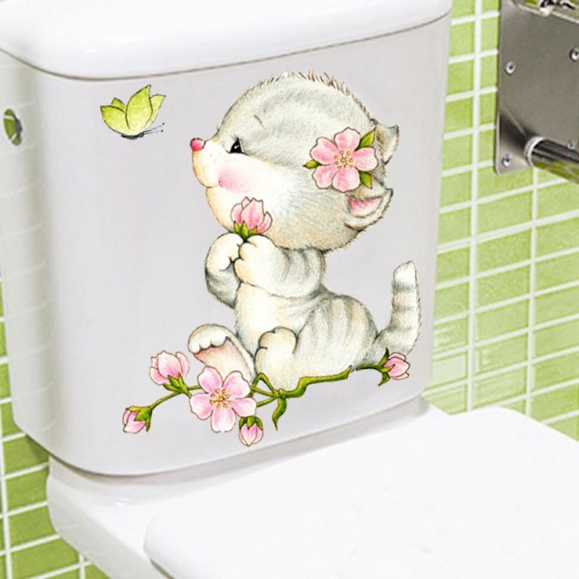 view civid 20*30cm cats wall stickers for kids rooms bathroom toilet home decor cartoon animal wall decals diy mural art
