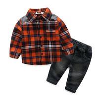 2019 Plaid Shirts+Jean Two Set Baby Boys Clothes Set Baby Boy Newborn KS 1984