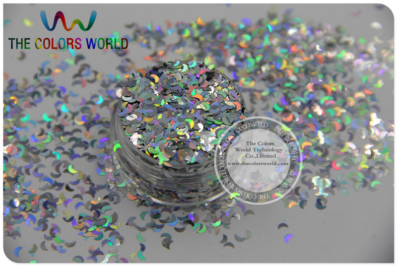 LM-0 Size 3 mm laser holographic silver color Glitter paillette Moon shape spangles for Nail Art  and DIY supplies1pack=50g tcf510 solvent resistant neon rose carmine color mickey mouse shape spangles for nail polish and other diy decoration1pack 50g
