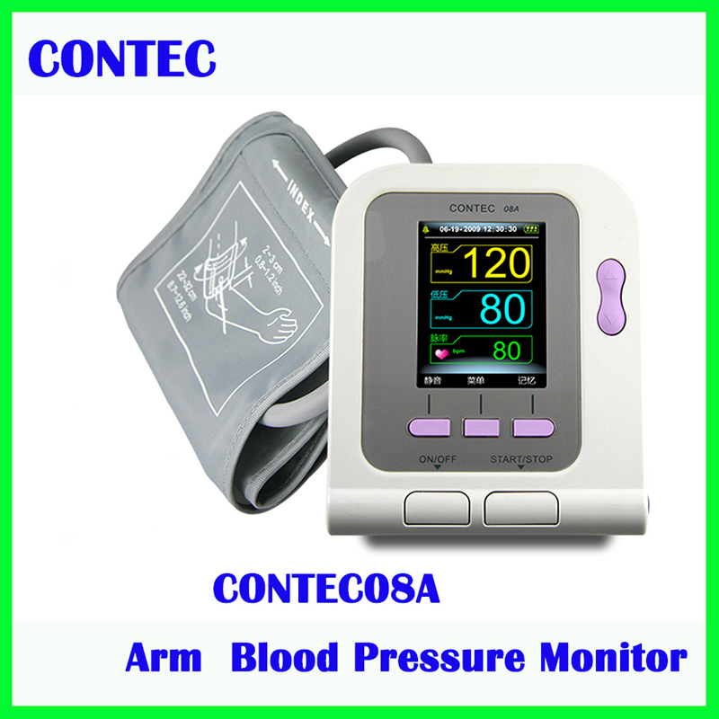 Free Shipping NEW Digital Blood Monitor CONTEC 08A With Software LCD Color Screen CE FDA 2018 new ce fda digital blood pressure monitor usb software cd included contec08c bp monitor tensiometer