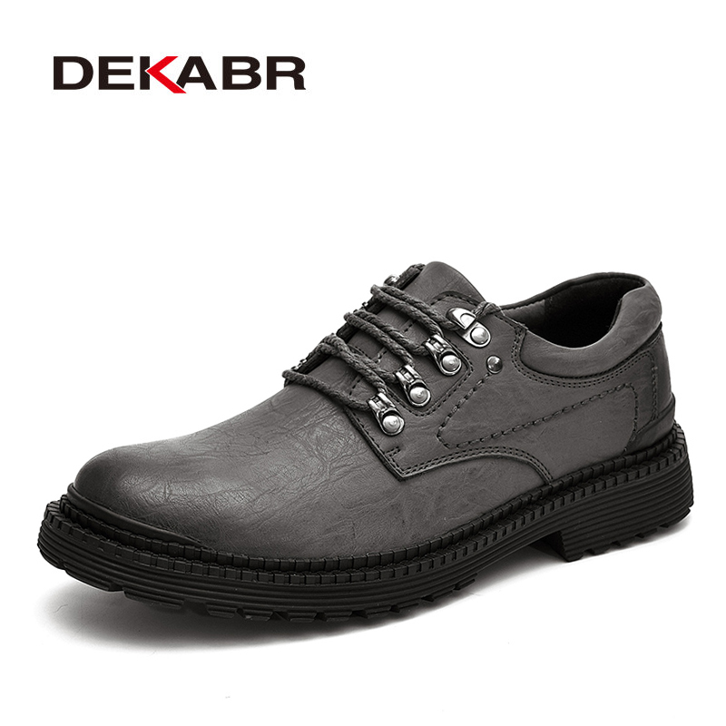 DEKABR New Fashion Men Shoes Luxury Classic Men Leather Grey Shoes Men Oxfords Designer Waterproof Work Casual Footwear Sneakers