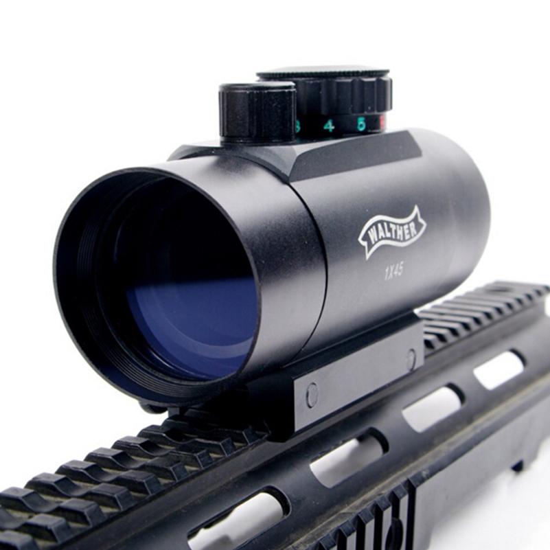 Prix pour De haute qualité imperméable à l'eau 1x45 red green dot laser sight télescopique reticle reflex portée avec 20mm rail mount pour la chasse e