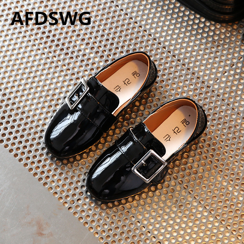 AFDSWG spring and autumn fashion black boys leather shoes white princess shoes for girls girls red shoes dance shoes