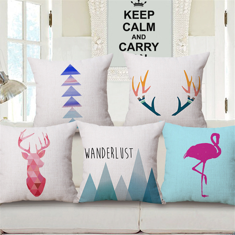 nordic decoration moose animal print cushion cover housse de coussin pink flamingo pillow covers. Black Bedroom Furniture Sets. Home Design Ideas