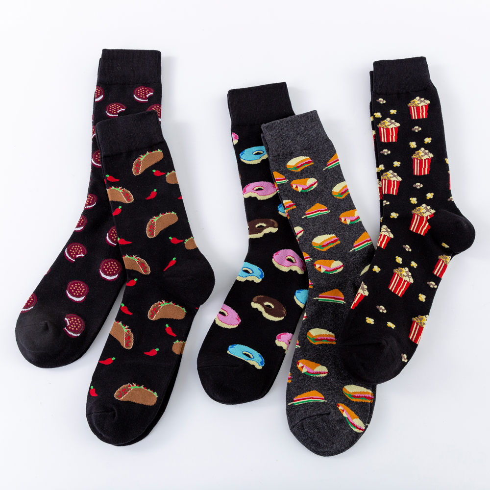 New 2019 Funny Sandwich Hamburger Doughnut Cookie Wedding Socks Men Food Pattern Crew Combed Cotton Novelty Skateboard Socks
