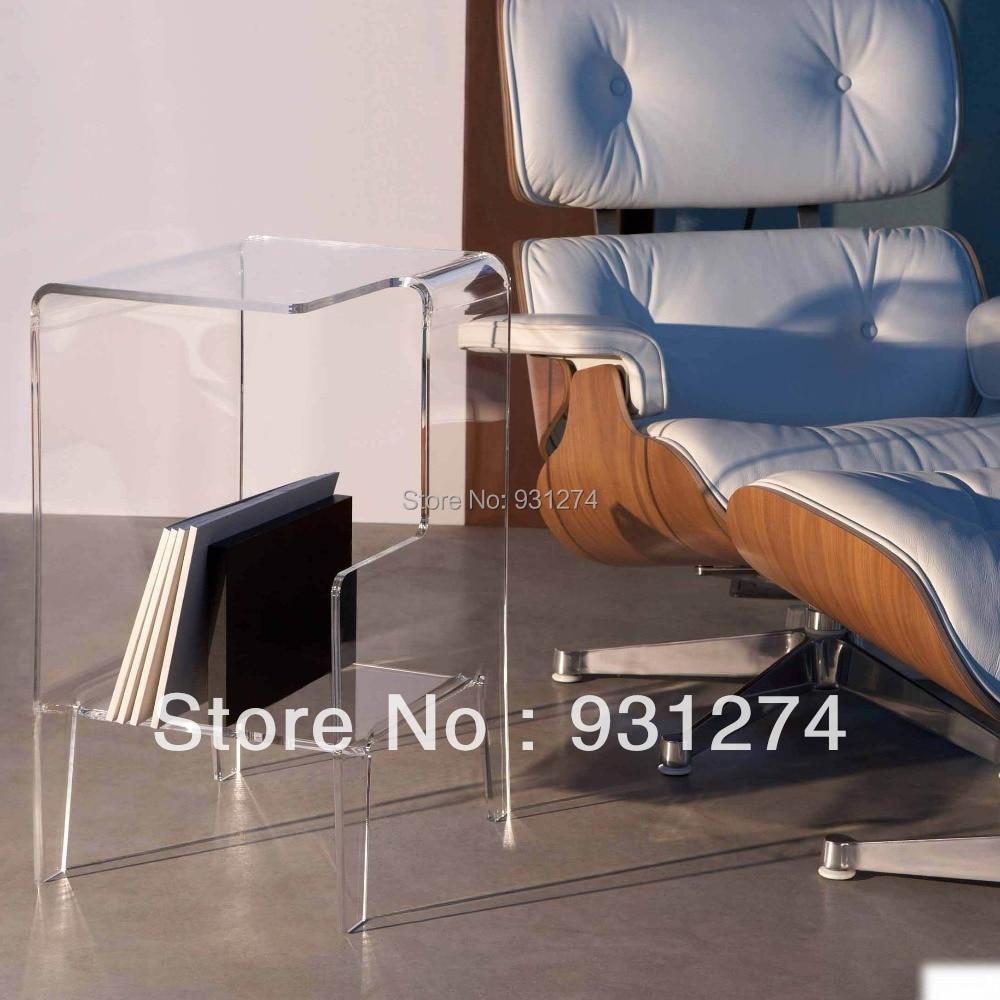 Acrylic Coffee Tables With Magazine Organizer Bookcase