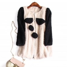 Europe and the United States women's new autumn 2016 Fashion cartoon color matching cloth coat