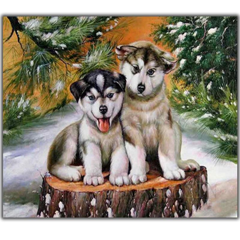 5D DIY Вышивка с кристаллами собака сидит на дереве Pier рукоделие Алмаз Вышивка Полный Круглый мозаичные украшения Смола