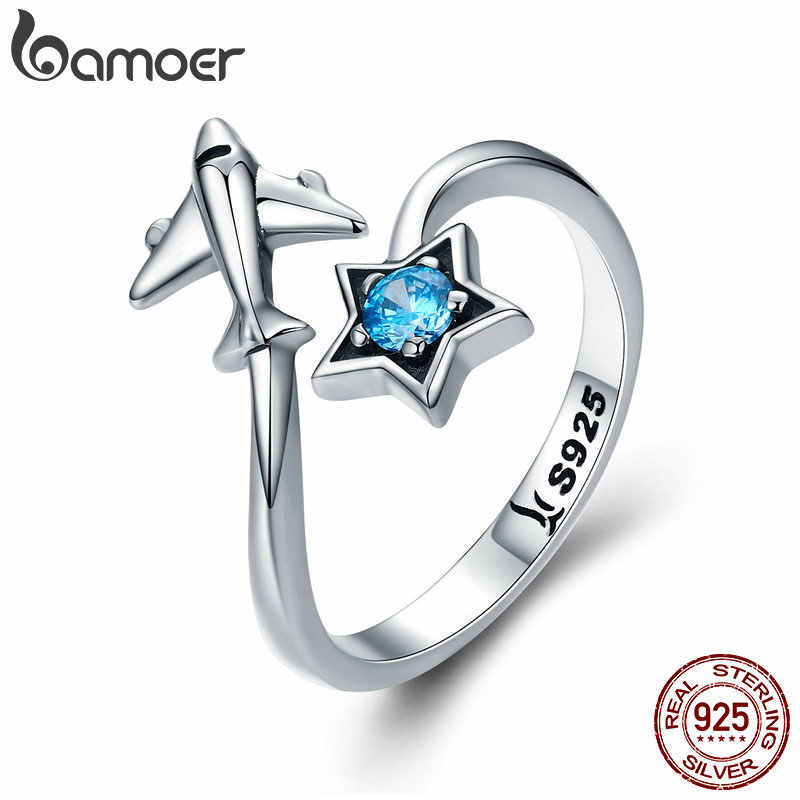 BAMOER 100% 925 Sterling Silver Trendy Star Tours Star & Plane Female Finger Rings for Women Sterling Silver Jewelry Anel SCR322