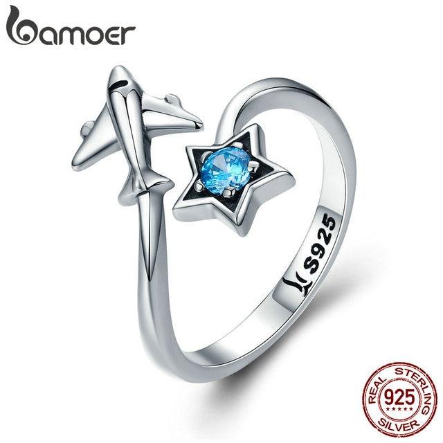 BAMOER 100% 925 Sterling Silver Trendy Star Tours Star & Plane Female Finger Rin