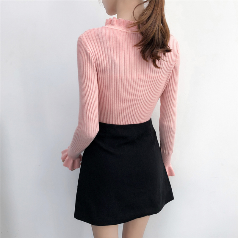 690f436ed0 Butterfly Sleeve Knitted Sweater Female 2018 Winter Slim Jumper Women  Sweaters And Pullovers Black White Pink Pull Femme