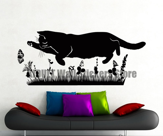 Chat Papillon Herbe Wall Sticker Animaux Vinyle Decal Accueil