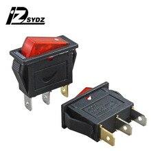 KCD3 3000 Вт черный лодочного типа переключатель; кулисный переключатель 25x20 мм 15A250V 3-контактный 2-ступенчатый кнопки лодочного типа переключатель Еда отпариватель переключатель