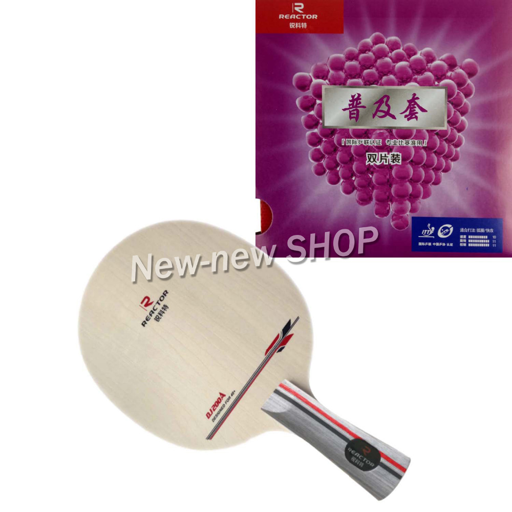 Pro Table Tennis Ping Pong Combo Paddle  Racket  Reactor DJ200 + 2 Pcs Corbor Shakehand Long Handle FL