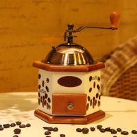 Manual Coffee Grinder Wheel Design Coffee Grinder With Ceramic Movement Retro Wooden Coffee Mill For Home Decoration