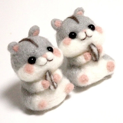 US $12 36 |Cut hamster Cat cartoon wool felt poke fun lovely punch needle  DIY handmade gifts unfinished products material kit set-in Sewing Tools &
