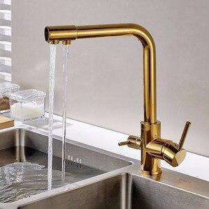 Image 3 - FLG 100% נחושת זהב סיים סיבוב שתיית מים ברז 3 דרך מים מסנן מטהר מטבח ברזי עבור כיורים ברזי 242 33B
