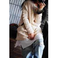 ASYMSAY 2017 New Style Autumn Winter Cotton Linen T Shirt Hem Side Split Long Sleeve Round Collar Tee Tops Women AC5799