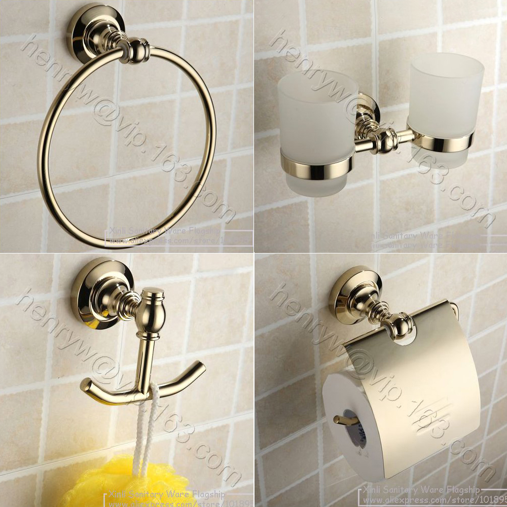 X16133 Luxury Wall Mounted Gold Color Bathroom Accessories Including Towel  Ring U0026 Glass U0026 Soap Holder U0026 Robe Hook U0026 Paper Holder