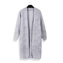Yhkgg mujer sólido casual long cardigan suéter 2018 Otoño Invierno  Chaquetas mujer abrigo largo oversize knitwear 7be40ff5e02