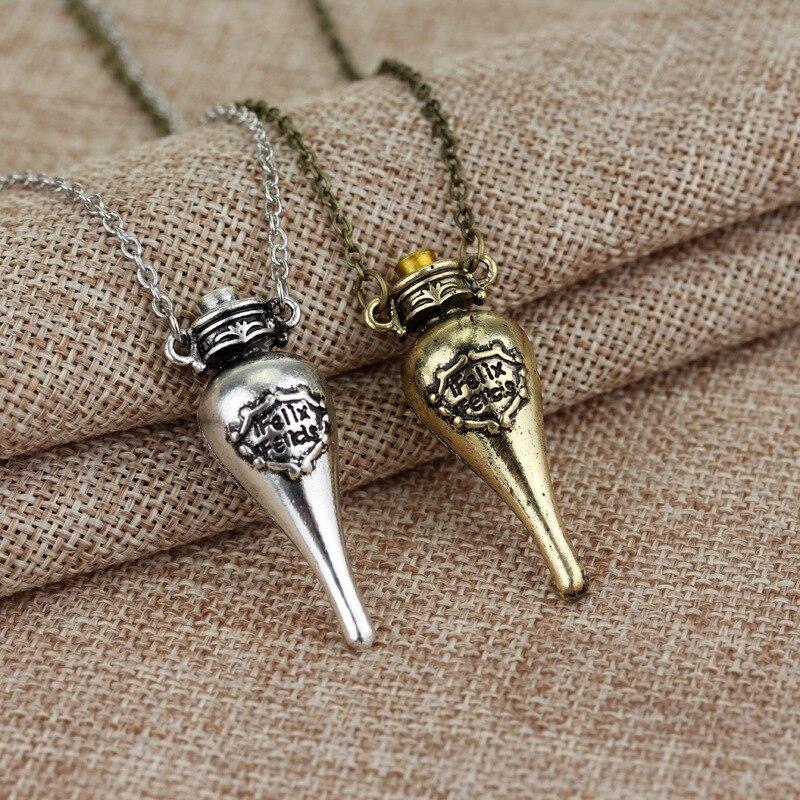 Movie Jewelry Felix Felicis Magical Potion Vintage Necklace Liquid Luck Bottle Vial Pendant Necklace Women Men Fashion Jewelry