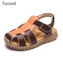 summer children's sandals fashion genuine leather beach sandals cow muscle bottom kids sandals