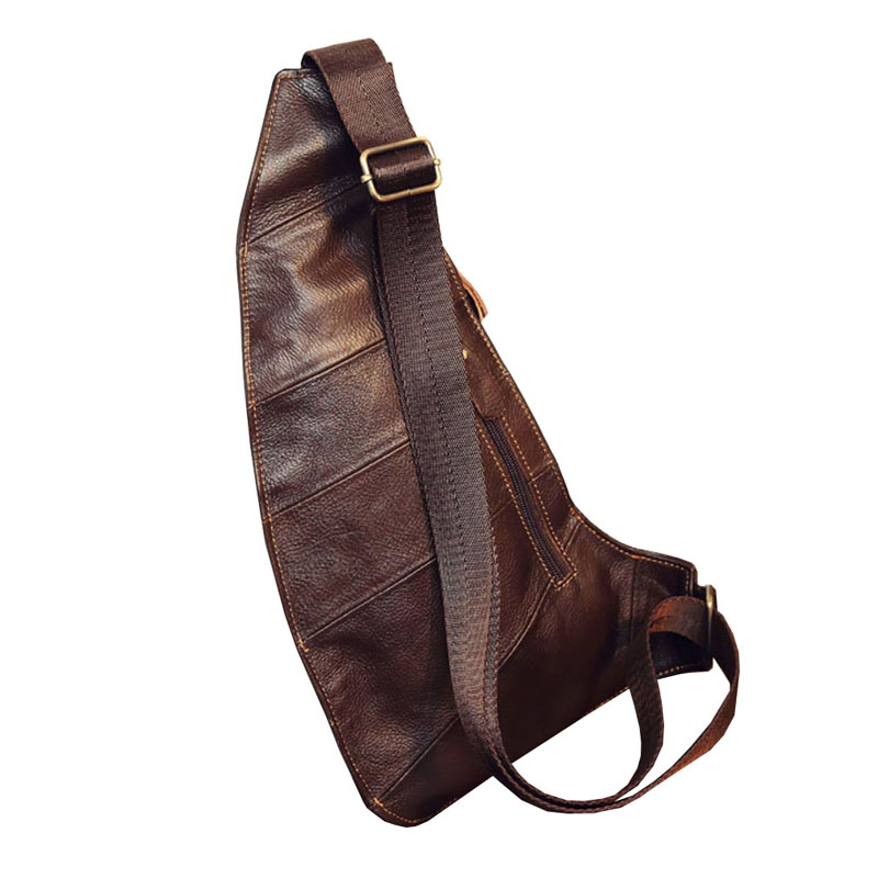 Image 2 - Mens Vintage Leather Sling Chest Bag Cross Body Messenger Shoulder Packet Motorcycle for Travel Riding Hiking Pouchchest bagcross bodygenuine leather -