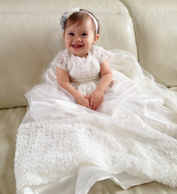 Newborn Heirloom Dedication Christening Gown Pearls Belt Blessing Dress with Bonnet Baby Baptism Robe For Boys Girls
