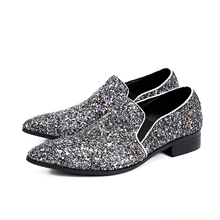 2017 New Handmade Men Loafers with Sequins Silver Prom Wedding Men Dress Shoes Luxury Smoking Slippers Plus Size Male Flats