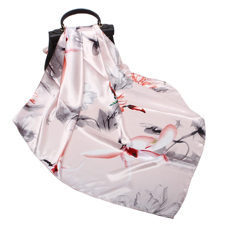 Fashion Floral Print Hijab   Scarf   For Women Shawl Silk Satin Scarfs Female   Wraps   90*90cm Square Shawls Bandana   Scarves   For Ladies