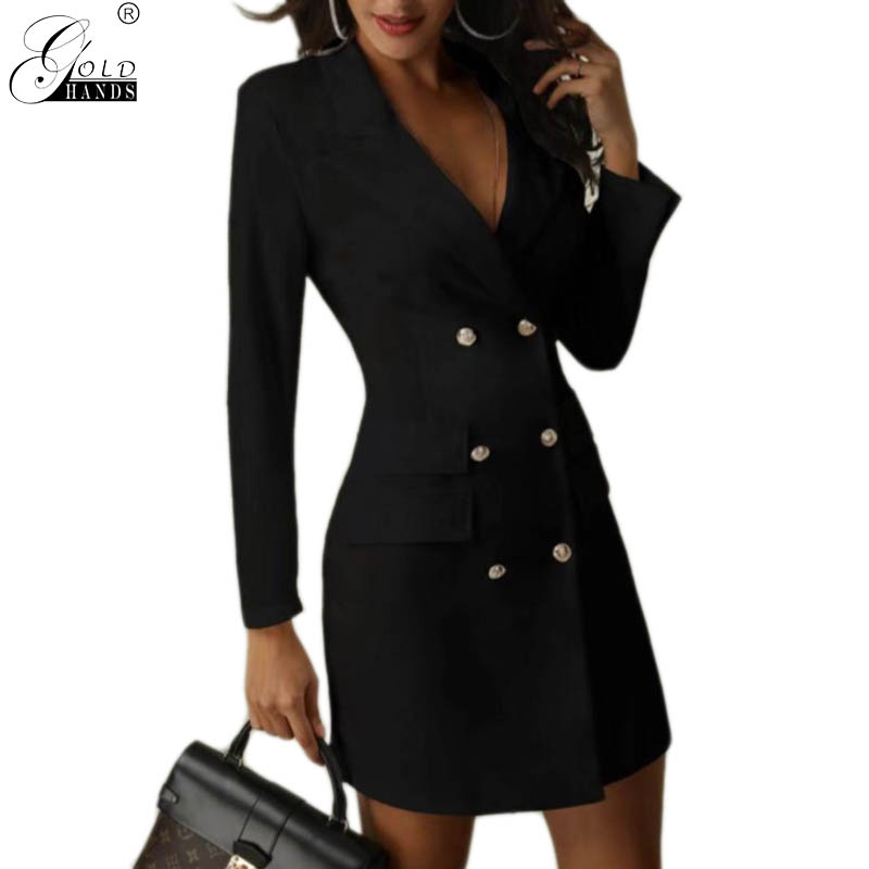 Gold Hands Winter Office Lady Women Streetwear Women Elegant Skinny   Trench   Coats Spring Casual Ladies Double Breasted Coats