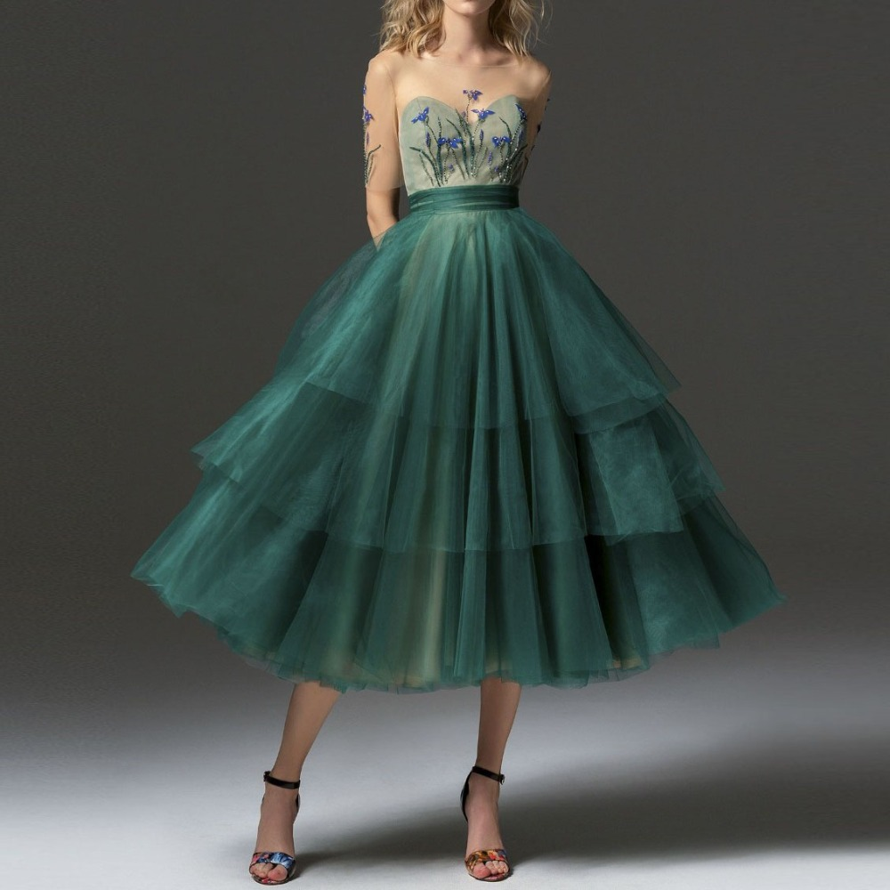 Hunter Formal Dress Homecoming Dresses With Sleeve robe de soiree A Line Formal Dresses Tiered Appliques Tutu Tulle High End formal wear