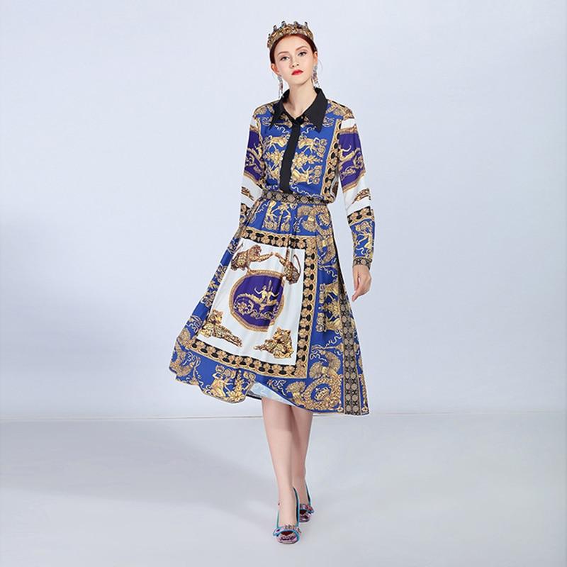 Costume Vintage Copie Bas Jupe Vers Blouse Ensemble Slim 2018 Fermeture Chemise Femelle Femmes Élégant Éclair Pièces 2 Tournent Le Robe Automne qE5xwACH