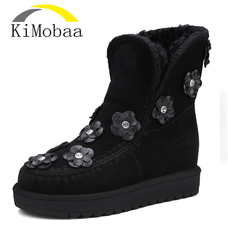 Kimobaa Winter Snow Boots Cow Suede Women Shoes Warm Wool Flat Boots Russia Flowers Fashion Ankle Shoes Plus Size 34-42 TX186