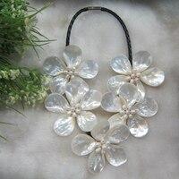 Trắng Nước Ngọt Pearl & Nước Mặn Mop shell flower Bọc Tuyên Bố vòng c