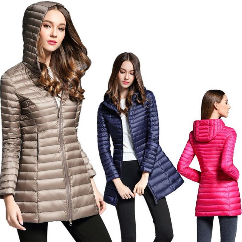 Woman Spring Long   Down   Jacket Women Winter Duck   Down   Female Overcoat Ultra Light Slim Hooded Jacket Quilted   Coat   Portable Parkas