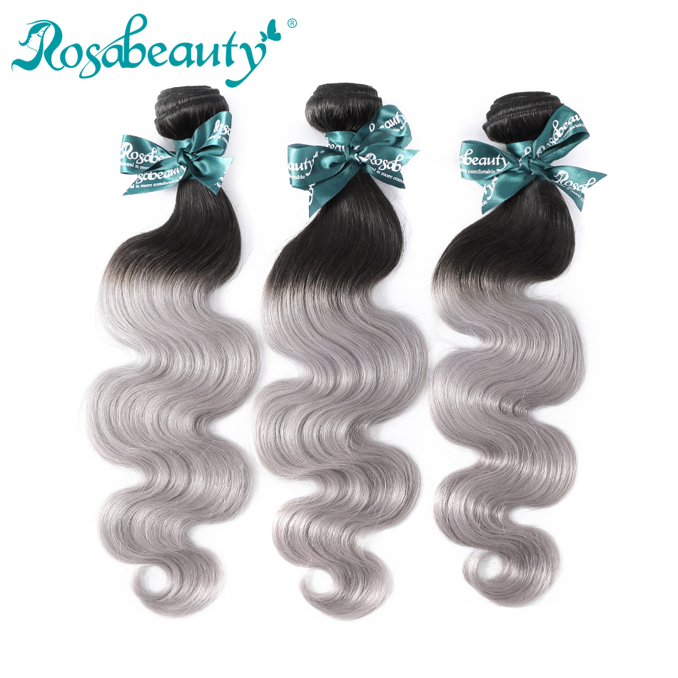 Rosabeauty Human Hair Bundles Dark Roots T1b/Grey Remy Brazilian Straight Hair Weave Bundles Ombre Hair Extensions 3Pcs