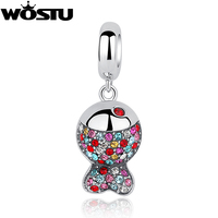 2016 New Style 925 Sterling Silver Colorful Fish Charm Bead Fit Original Pandora Bracelet Necklace Authentic