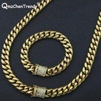 Luxury 14MM Men Miami Link Cuban Chain Necklace Bracelets Stainless steel Rhinestone Clasp Lock Hip hop Heavy Jewelry Set